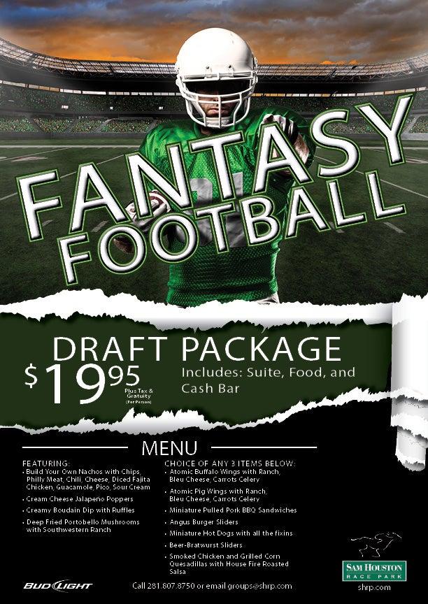 fantasy football draft packages sam houston race park. Black Bedroom Furniture Sets. Home Design Ideas