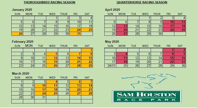 Race Calendar.2020 Live Racing Calendar Sam Houston Race Park